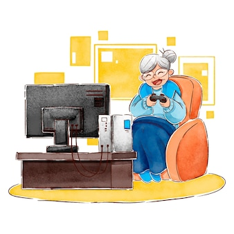 Flat-hand getekend senioren met behulp van technologie illustratie