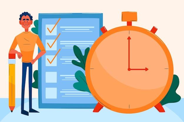 Flat-hand getekend time management illustratie