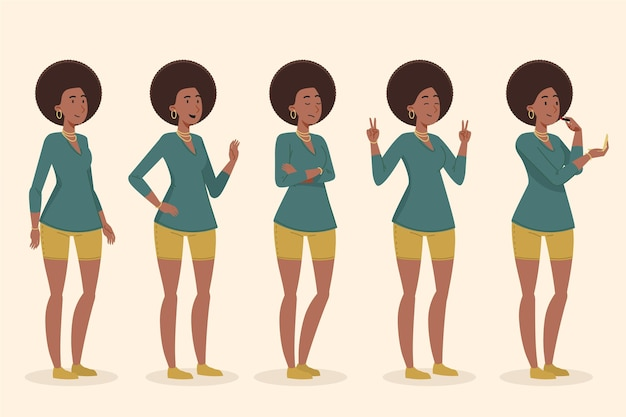 Flat-hand getekend zwart meisje in verschillende poses-collectie