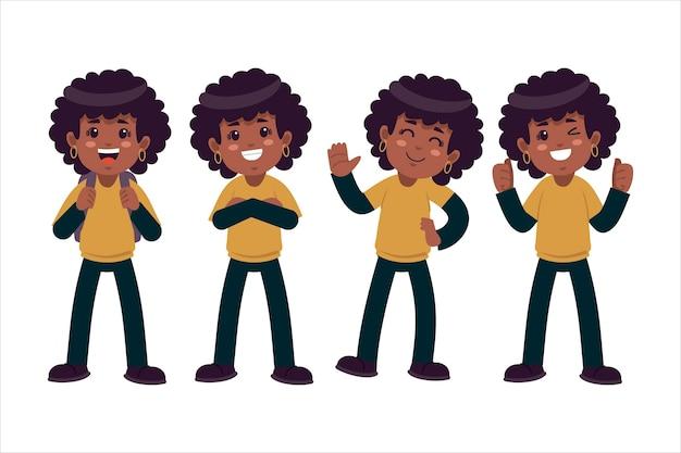 Flat-hand getekend zwart meisje in verschillende poses