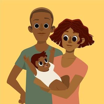 Flat-hand getekend zwarte familie illustratie met een baby