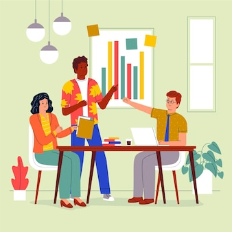 Flat-hand getekende coworking-ruimte