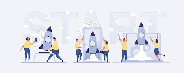 Flat-hand getekende mensen die een zakelijk project starten. illustratie vector