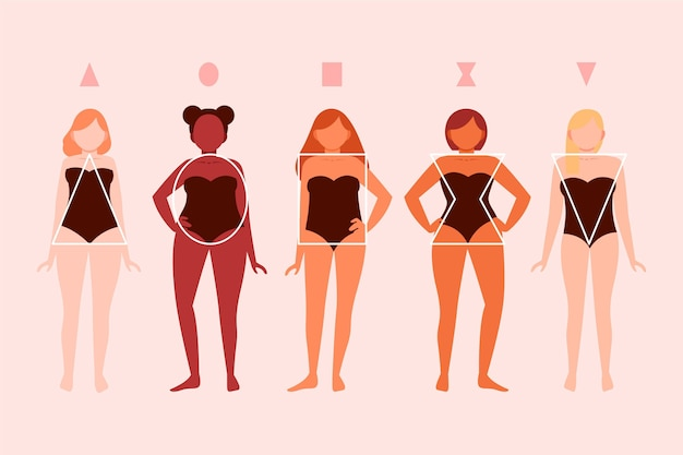 Flat-hand getekende soorten vrouwelijke lichaamsvormen set Gratis Vector