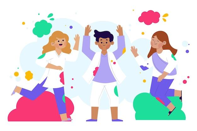 Flat-hand getrokken mensen vieren holi festival illustratie