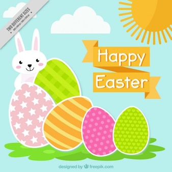Flat happy easter background