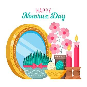 Flat happy nowruz geïllustreerd