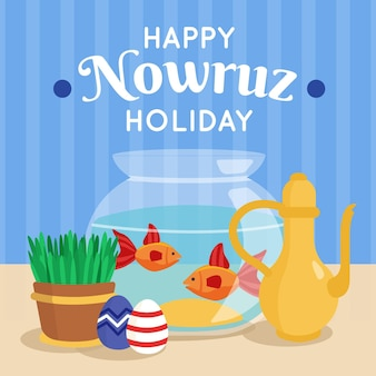 Flat happy nowruz illustratie