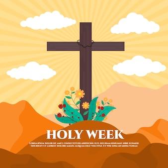 Flat heilige week evenement thema