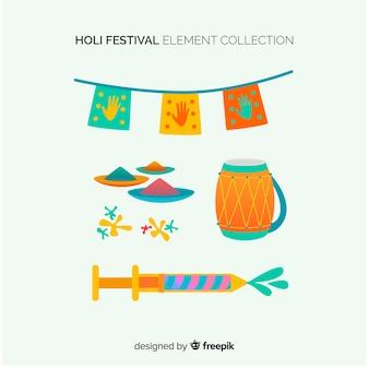 Flat holi festival element collectie