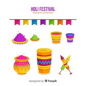 Flat holi festival element pack