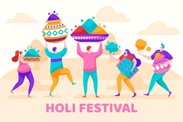 Flat holi festival met mensen die geschenken dragen