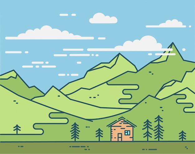 Flat huis in groene bergen illustratie