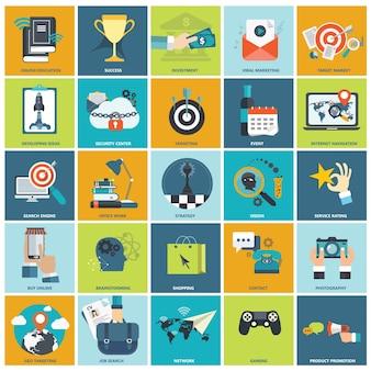 Flat icon set voor het bedrijfsleven