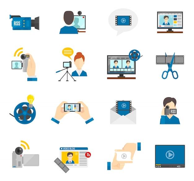 Flat icon video blog