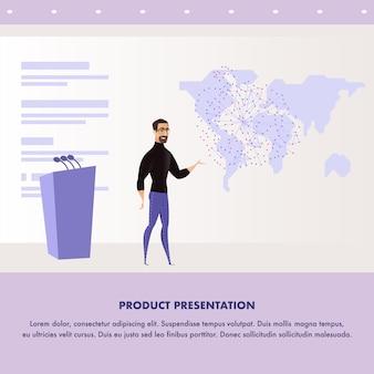 Flat illustratie man die presentatie toespraak geeft