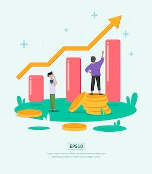 Flat illustration grow business met statistieken illustratie karakter munt dollar voor het bedrijfsleven