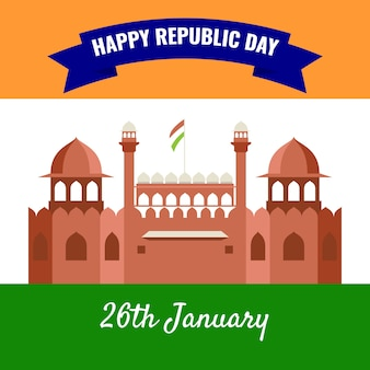 Flat indiase republiek dag concept