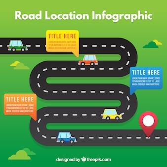 Flat infografie van de weg locatie met auto's