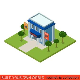 Flat isometrische bioscoop bouwsteen infographic concept bouw je eigen infographics wereldcollectie