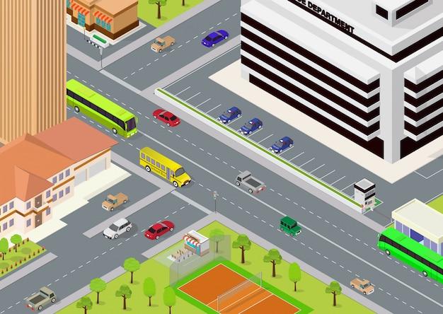 Flat isometrische stad megalopolis blokken