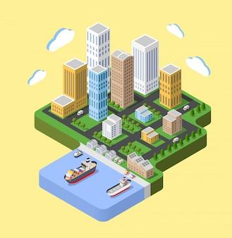 Flat isometrische stad. stedelijke buurten, wolkenkrabbers, huizen en straten