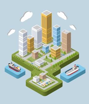 Flat isometrische stad. stedelijke buurten, wolkenkrabbers, huizen isometrische weergave