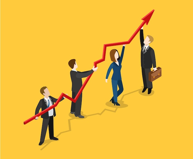 Flat isometrische winst indicator groei concept