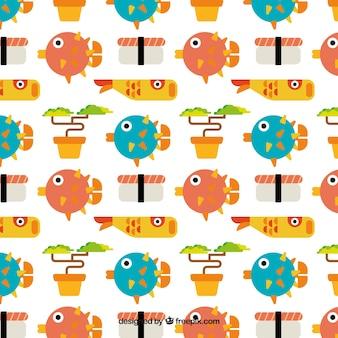 Flat japanse vissen en sushi patroon