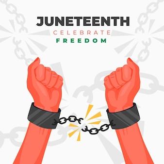 Flat juneteenth viering illustratie