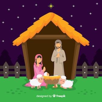Flat kerst kerststal
