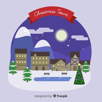 Flat kerst stad achtergrond