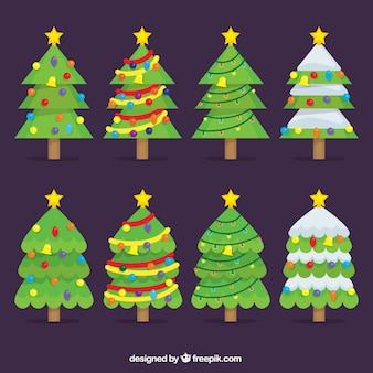 Flat kerstbomen met sterren en belletjes