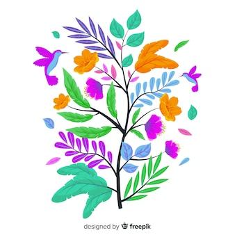 Flat kleurrijke bloementak