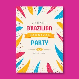 Flat kleurrijke braziliaanse carnaval flyer