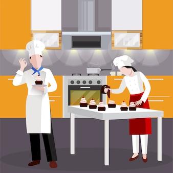 Flat koken mensen in restaurant samenstelling