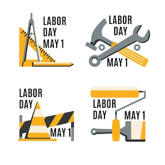 Flat labour day badge collectie