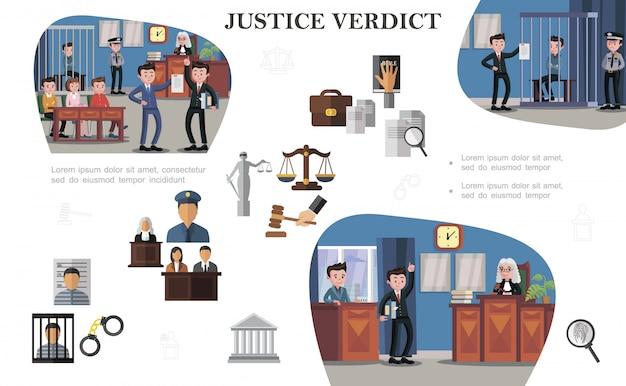 Flat law systeemelementen samenstelling met documenten justitie schalen hamer gevangene politieagent rechter advocaten verschillende situaties tijdens hoorzittingen