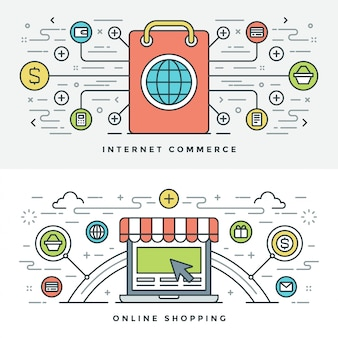 Flat line internet commerce en online winkelen. vector illustratie.