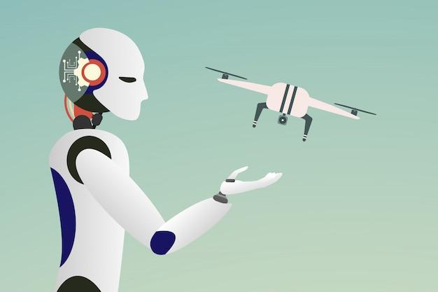 Flat man-robot lanceert drone. illustratie