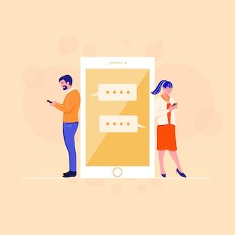 Flat mannelijke en vrouwelijke app op smartphone gebruiken.