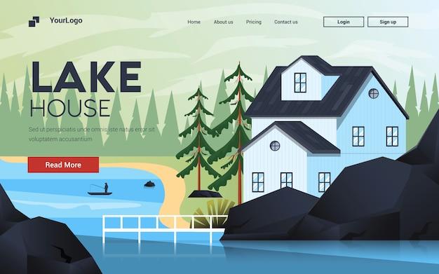 Flat modern design illustratie van mountain house