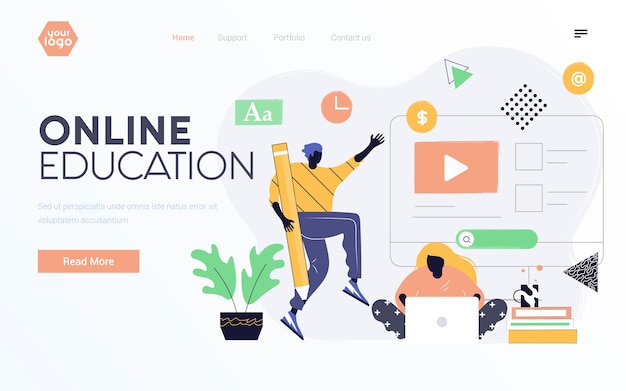 Flat modern design illustratie van online onderwijs