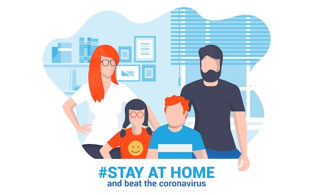 Flat modern design illustratie van stay at home