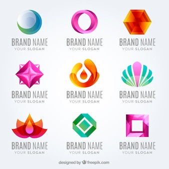 Flat moderne gekleurde logo collectie