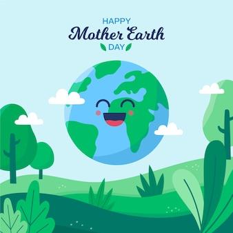 Flat moeder aarde dag behang concept
