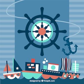 Flat nautische achtergrond met grote roer en meerdere schepen