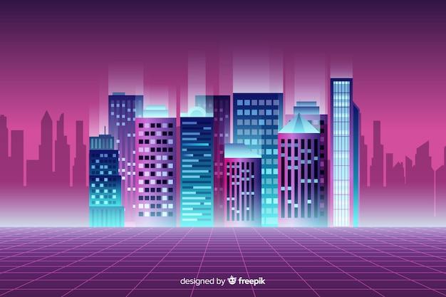 Flat neon cityscape achtergrond