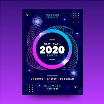 Flat nieuw jaar 2020 partij folder sjabloon
