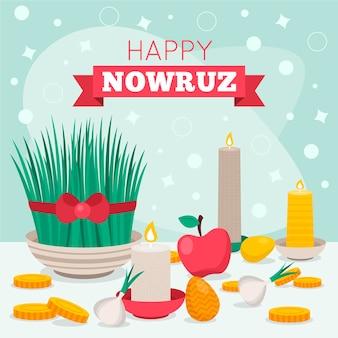 Flat nowruz-elementen geïllustreerd